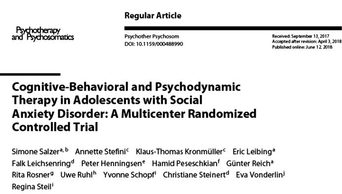 Soziale Phobie, Publikation